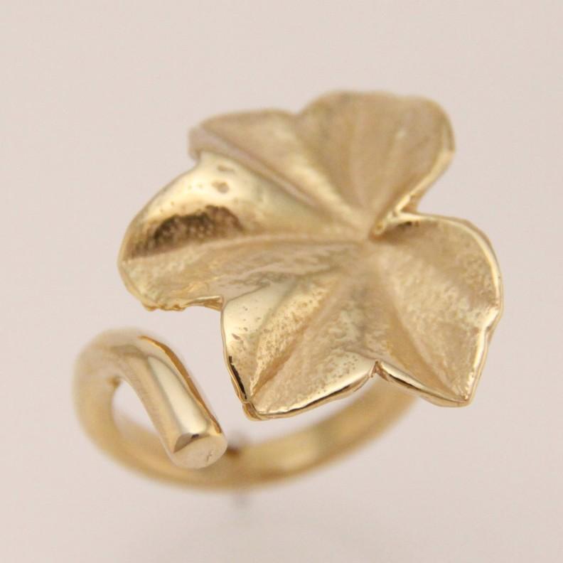 sieraden verguld - ring bladvorm