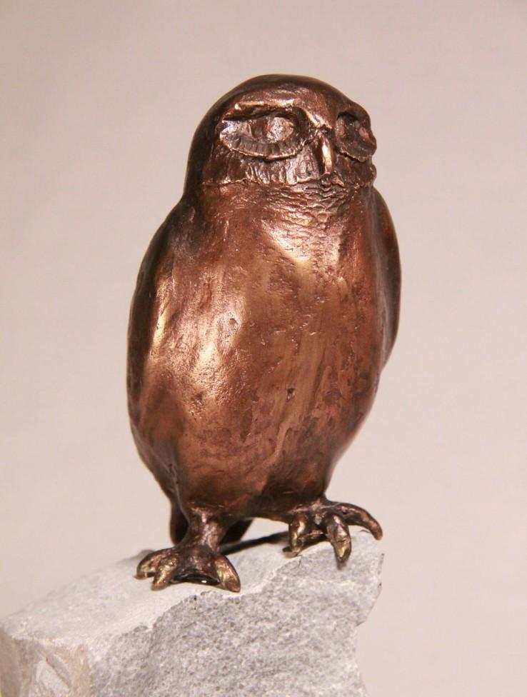 steenuil op steen - bronzen beeld