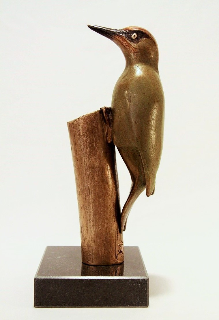 Bronzen beeld specht