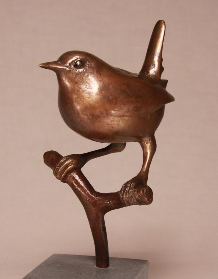 geschenk huwelijk - bronzen beeld winterkoninkje