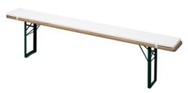 Bierbankkussen 220 x 25 cm Wit klittenband