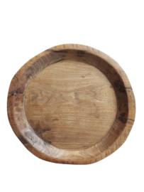 Oude platte schaal donker