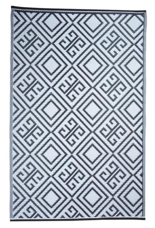 Tuintapijt grafisch zwart/wit 120 x 180