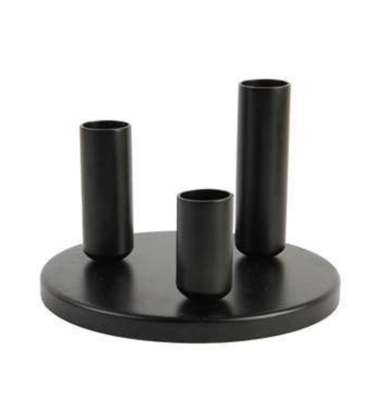 Ronde kandelaar zwart