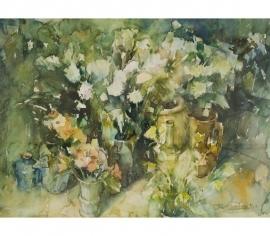Bloemenstilleven met Spaanse kruik