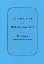 Hofman, Ds. H.-Leerrede over Mattheus 18 vers 1 t/m 4