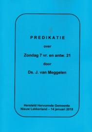 Meggelen, Ds. J. van-Predikatie over Zondag 7 vraag en antwoord 21 (nieuw)