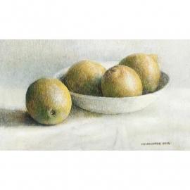 Stilleven met vier citroenen