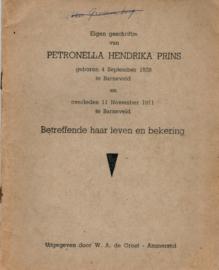 Eigen geschriftje van Petronella Hendrika Prins