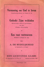 Redelijkheid, A. de-Vermaning om God te loven (e.a.)