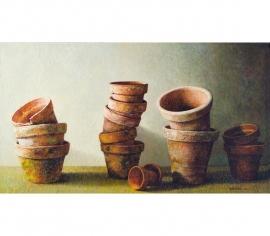 Stilleven met aardewerken potjes