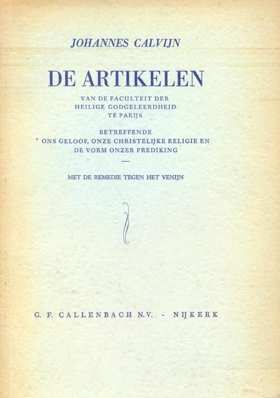 Calvijn, Johannes-De Artikelen