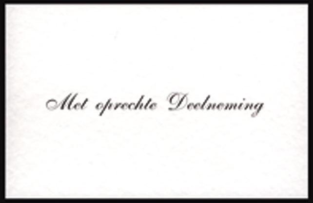 Condeolantiekaartjes-Met oprechte deelneming (liggend, sierletters)
