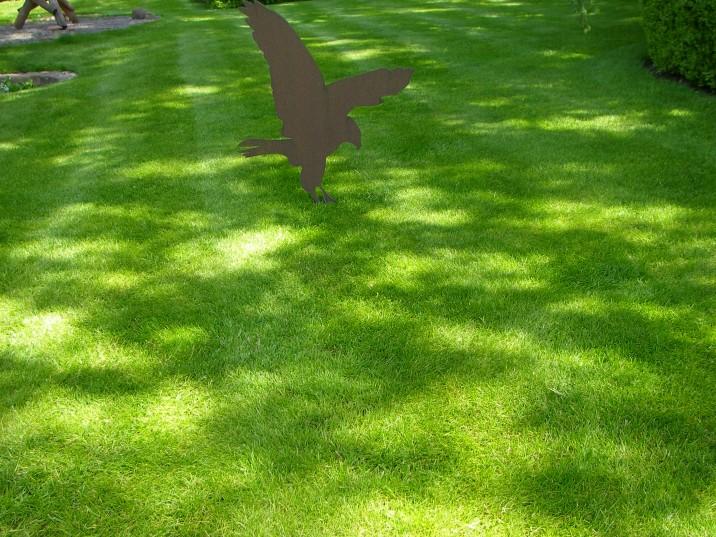 foto groen gras met cortent stalen vogel