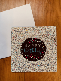 Glitterkaart | HAPPY BIRTHDAY | kleur zilver- beige
