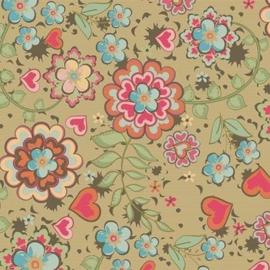 Bruin kraft cadeaupapier met gekleurde bloemen
