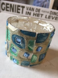 Brede armband  | kleur turquoise | 5 cm breed