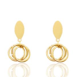 Stainless steel oorbellen | goud | lengte 3 cm.