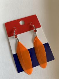 Oranje oorbellen met veertjes | EK oorbellen | oorbellen voor Koningsdag