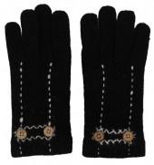 Zwarte handschoenen met stiksels en sierknopen