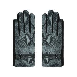 Grijze handschoenen met snakeprint.