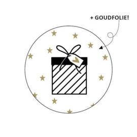 10 cadeaustickers Pakje met hartje