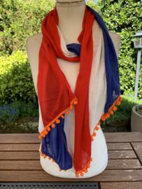 Rood-wit-blauwe sjaal met oranje bolletjes | EK | Koningsdag