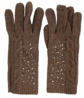 Bruine handschoenen met Strassteentjes
