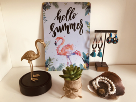 Decoratiebordje HELLO SUMMER met flamingo