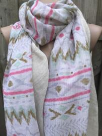 Beige sjaal met een mooie print.