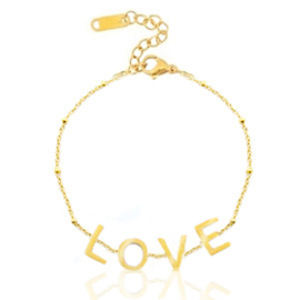 Stainless steel armband   goud & LOVE