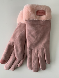 Heerlijk zachte en warme handschoenen met bontrandje | oud-roze
