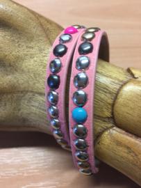 Super leuke Ibiza style Wikkelarmband | kleur roze