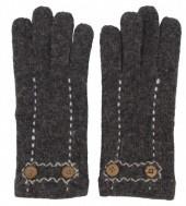 Grijze handschoenen met stiksels en sierknopen