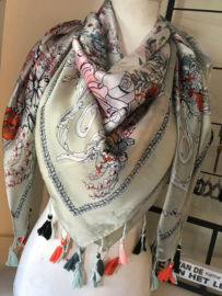 Prachtige sjaal met kleurige details.