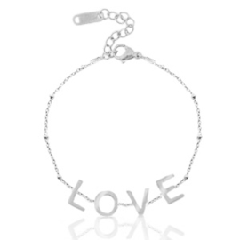 Stainless steel armband   zilver & LOVE.