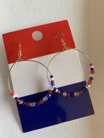 Rood - wit - blauwe oorbellen |  EK oorbellen | oorbellen voor Koningsdag