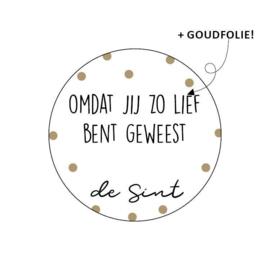 Sinterklaas cadeau stickers   omdat je zo lief bent geweest