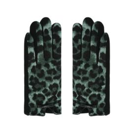 Groene handschoenen met panterprint en strikjes.