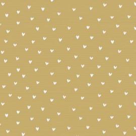 Bruin kraft cadeaupapier met witte hartjes