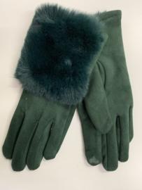 Groene handschoenen met bontrandje