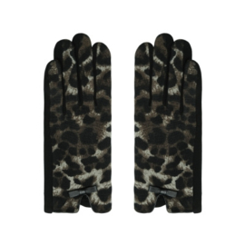 Taupe kleurige handschoenen met panterprint en strikjes. .