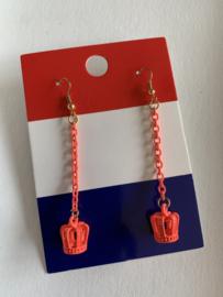 Oranje oorbellen met kroontjes |  EK oorbellen | oorbellen voor Koningsdag