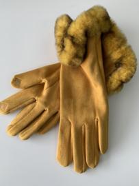 Okergele handschoenen met nepbont. .