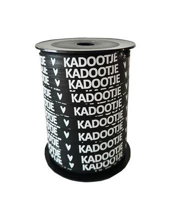 Bedrukt cadeaulint Kadootje - zwart & wit