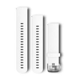 Bandjes met snelwisselsluiting (20 mm) - Wit siliconen bandje met stainless bevestigingsmateriaal