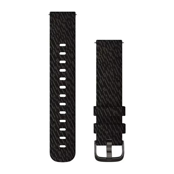 Zwart geweven nylon bandje met leigrijze sluiting