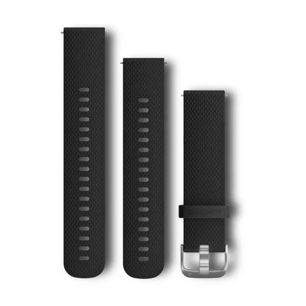 Bandjes met snelwisselsluiting (20 mm) - Zwart siliconen bandje met stainless bevestigingsmateriaal