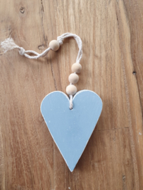 Gekleurd houten hart, mint of licht blauw