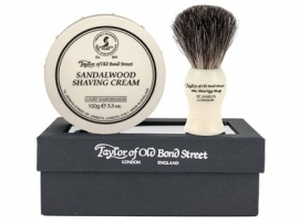 Taylor of Old Bond Street Giftbox Pure Badger & Shavingcream 150g Sandalwood